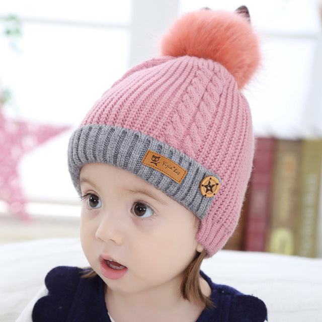 bf3b62535ac Children Winter Fake Fur Ball Hat Baby Beanies Cap Crochet Kids Knitted Babies  Hats Solid Christmas Boy Girl Winter Hat Toddler