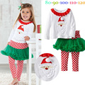 2016 Christmas Girls Clothing Sets Baby Kids Clothes Thanksgiving Outfit Long Sleeve T-Shirt + Pants Ensemble Fille