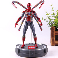 Marvel Avengers Infinity War Iron Spider Spiderman Figure With Stand LED Light PVC Action Collection Model Toys 17cm