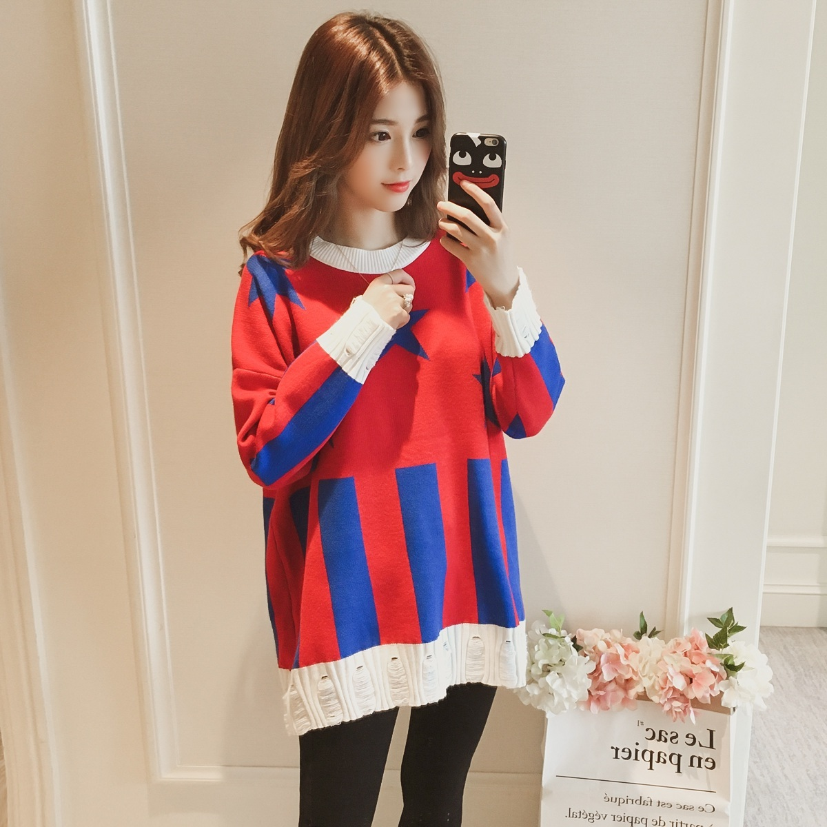 New winter long stars in maternity sweaters han edition printed color sweater pregnant women