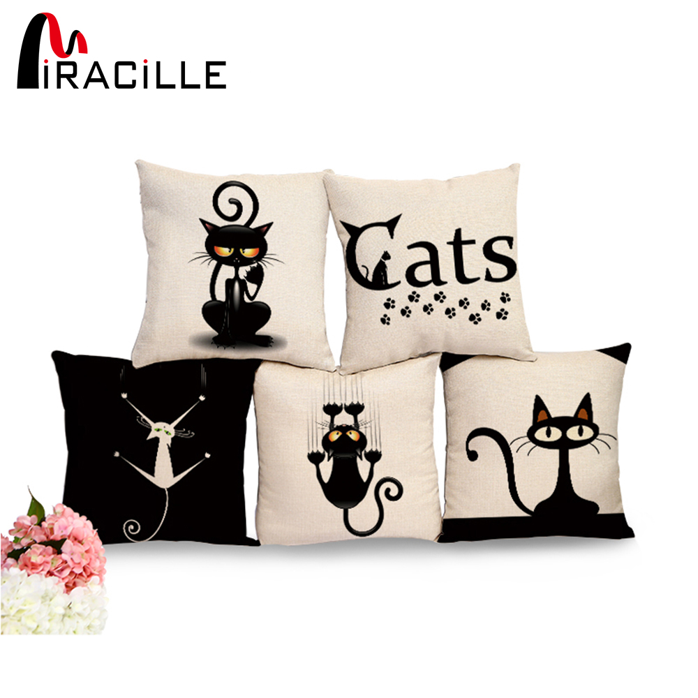 Miracille Square Cotton Linen Black Climbing Cat Dyr Trykt Dekorative Kasteputer Home Decor Pute For Sofaer No Core