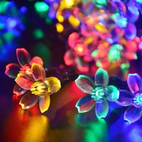 50 LEDs 7M Peach Sakura Flower Solar LED Romantic Fairy String Lights Garlands Garden Christmas Holiday