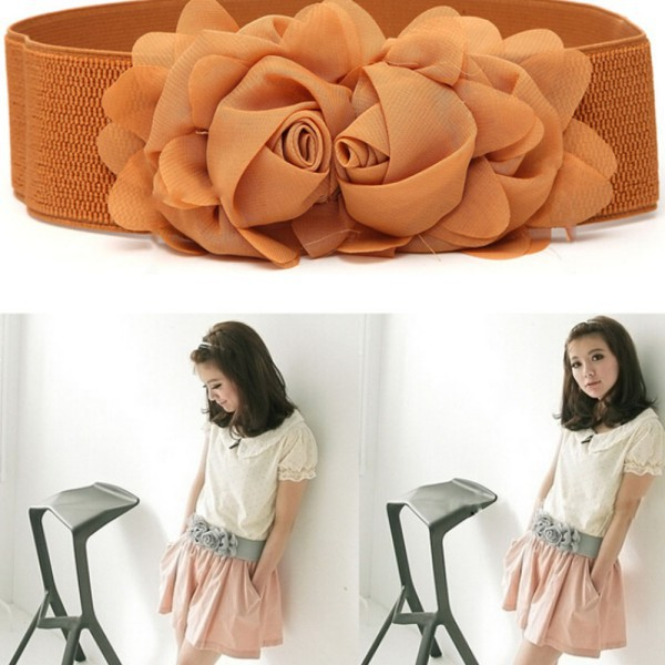 High Quality Fashion Womens Girl Chiffon Flower Double Rose Flower Elastic Stretch Waist Belt Wholesale SHM