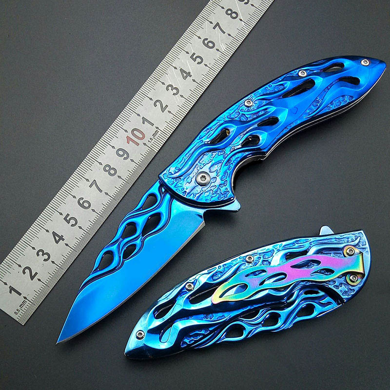 Blue Fire Flame Fold Knife blue Titanium Artwork Blade Handle Folding Knife Collect knife 440C Rainbow belt clam