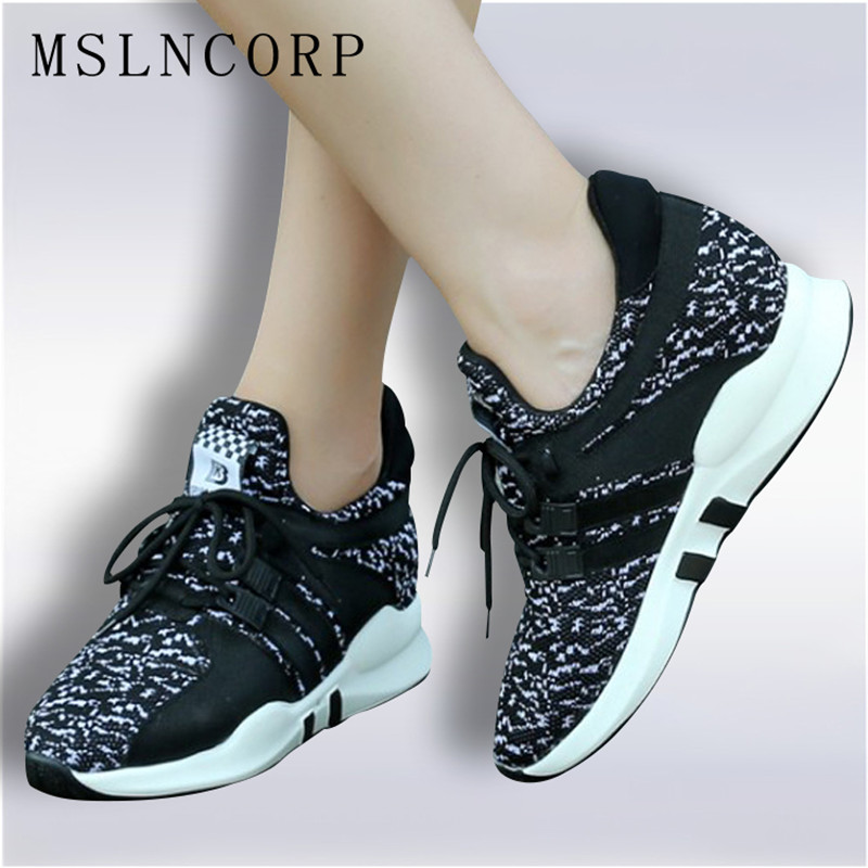 Size 34-45 New Fashion Flat Women Trainers Breathable Shoes Woman High-top Casual Tenis Feminino Sapato Height Increasing Flats ceyue fashion brand women shoes breathable air mesh trainers 2017 spring autumn casual shoes woman walking flats tenis feminino