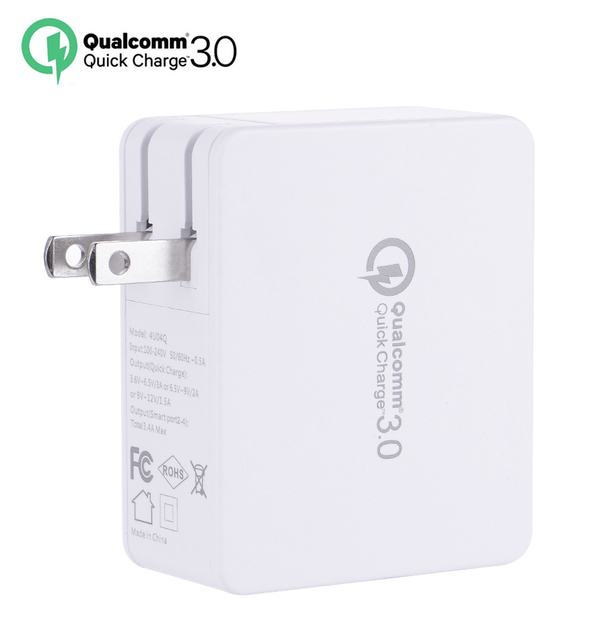 35W 7A Quick Charge QC 3.0 4-Port USB Charger Station for iPhone 5s 6s 7 Plus for Samsung Huawei Xiaomi Travel Wall Fast Charger
