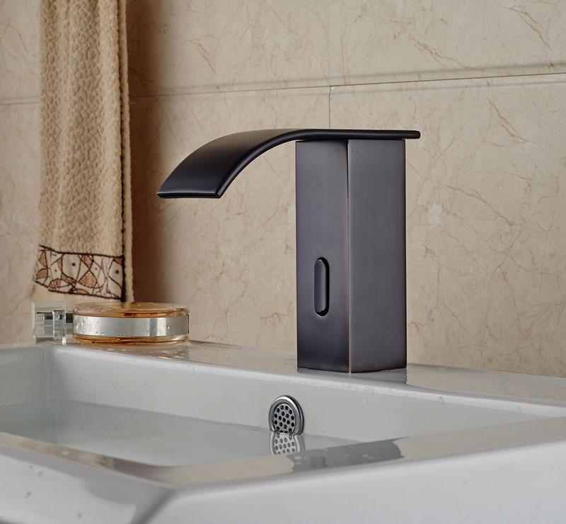 Oil Rubbed Broze Waterfall Spout Basin Faucet Bathroom Sink Tap ...