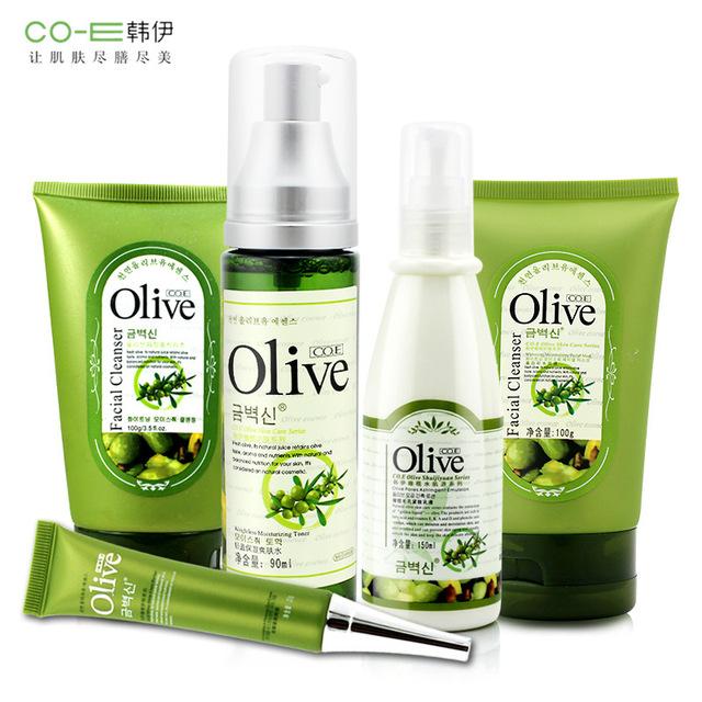Marca 5 Pcs Máscara Facial Conjunto de Cuidados Da Pele Extrato de Oliva + limpeza + Eye + Creme + Toner + Loção de Clareamento Hidratante Psiquiatra poros