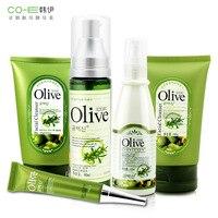 Marka 5 Sztuk Zestaw Do Pielęgnacji Skóry Twarzy Olive Extract Maska + pielęgnacja twarzy + Oko + Krem + Toner + Balsam Wybielanie Nawilżający Kurczą pory