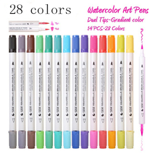 Premium 28 Colors 14Pcs Gradient Watercolor Art Marker Set Water Soluble Double Color Brush Marker Pen For Design Manga Comic