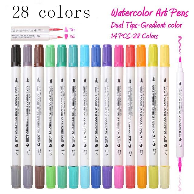 Premium 28 Kleuren 14 Stks Gradiënt Aquarel Art Marker Set Wateroplosbare Dubbele Kleur Borstel Markeerstift Voor Ontwerp Manga Comic