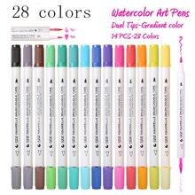 Premium 28 kolorów 14 sztuk gradientu akwarela zestaw markerów rozpuszczalny w wodzie podwójny kolor mazak pióro do projektowania komiks manga