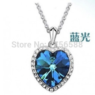 New Fashion Zircon Crystal Heart Of The Ocean Necklace Titanic Blue Heart Sweater Chain Pendant Jewelry