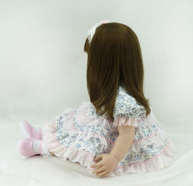60cm Silicone Vinyl Reborn Toddler Baby Doll Toy 24inch Princess Girl Toy Lifelike Fashionable Child Birthday