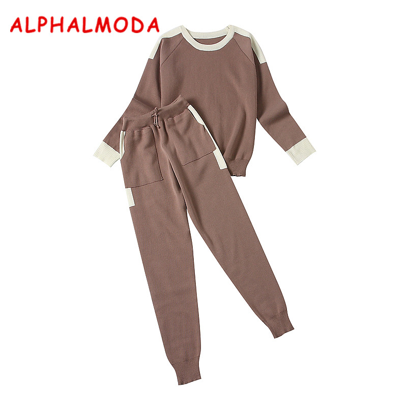 ALPHALMODA Aautumn Winter Women Knit Pants and Sweater 2pcs Clothes Sets Round Neck Pullovers Color Knit