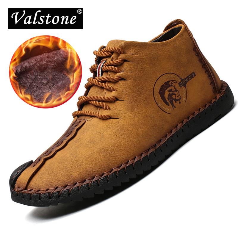 цены Valstone 2018 Super Winter Casual Shoes Men Leather handmade vintage High Tops Male boots warm winter sneakers man plus sizes 48