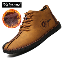 Valstone 2018 Super Winter Casual Shoes Men Leather Handmade Vintage High Tops Male Boots Warm Winter