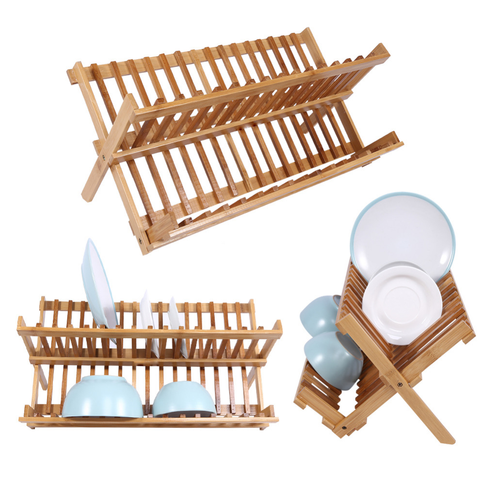 Double Tier Wooden Foldable Sink Dish Drainer Plate Cutlery Dryer Draining Rack Holder Kitchen Dish Rack