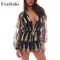 Everkaki 3D Embroidery Feather Sashes Jumpsuit Overalls Transparent Mesh Sleeves Playsuit Women Deep V Neck Black Sexy Rompers