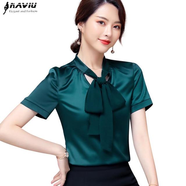 32dd251d286c59 Naviu 2019 high quality new fashion shirt bow tie design women short sleeve  blouses elegant formal