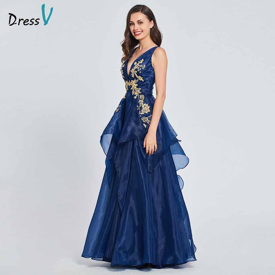 Dressv Party-Gown Appliques Elegant Evening Blue V-Neck A-Line Floor-Length Customize