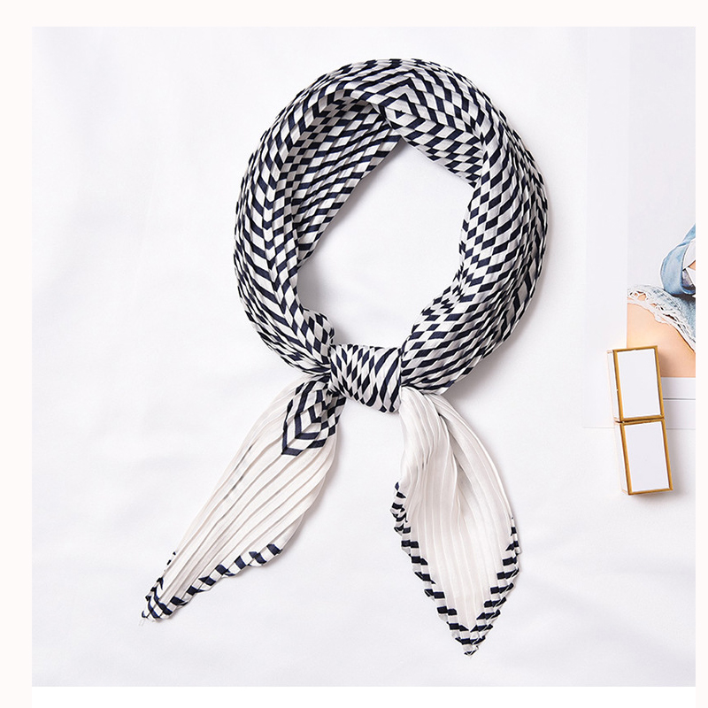 NEW Designer scarf for women Pleated Multicolor printing women satin square silk scarves foulard fashionable Apparel Accessories in Women 39 s Scarves from Apparel Accessories