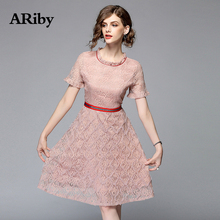 High-end Women Party Dress 2019 New Summer Sweet Style Embroidered Lace Dress Short Sleeves Solid Slim A-Line Knee-Length Dress цена 2017