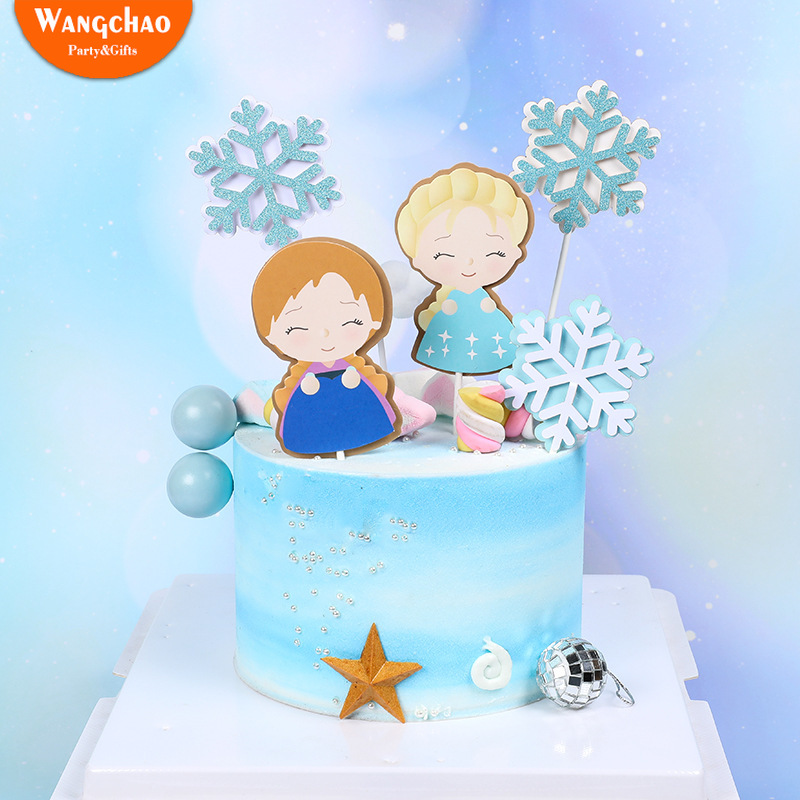 Lovely&Beautiful Girls Snowflake Cake Topper Winner Decoration New Year Christmas Happy Birthday Party Supplies
