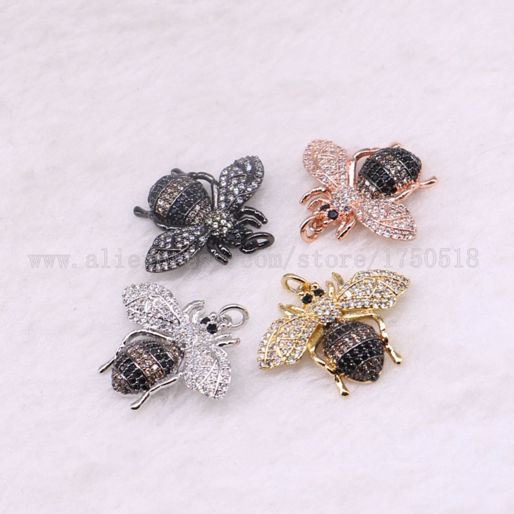 5 pieces small bugs pendants charm fly insects hexapod bee fly jewelry pendants micro paved mix color pendants pets beads 3064