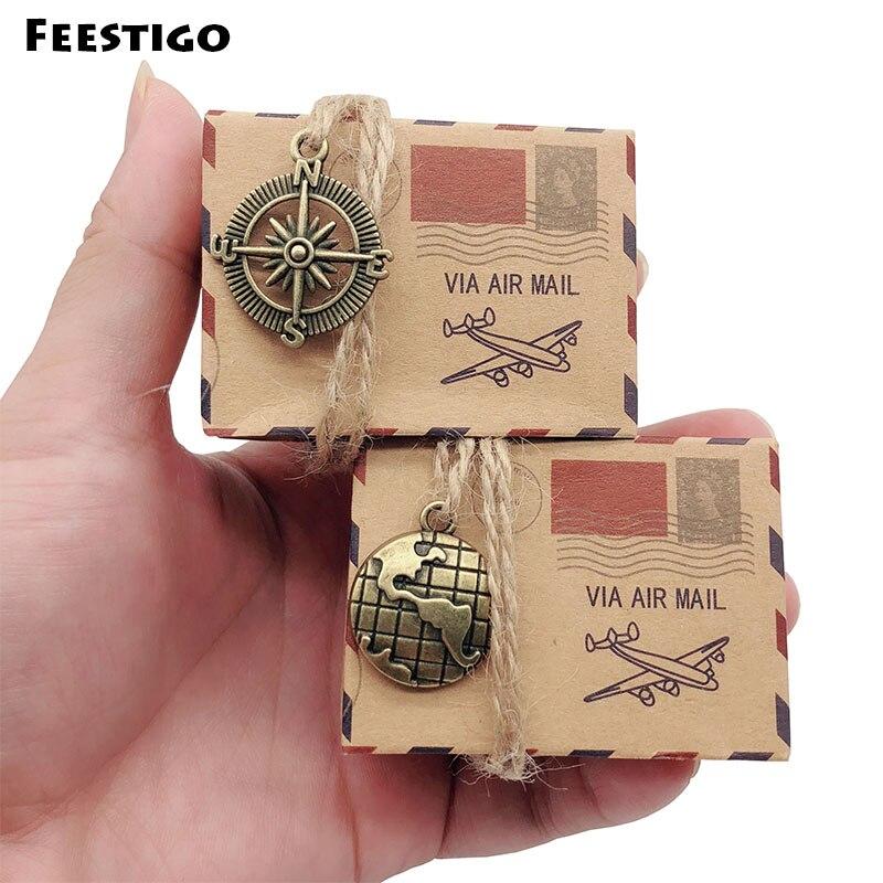 Feestigo 50pcs Wedding Vintage Candy Box Kraft Packaging Gift Box Wedding Favors and Gifts Bag Travel Themed Party Supplies