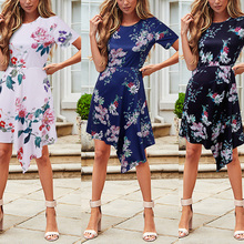 купить New Arrival Women Floral Irregular Hem Dress Short Sleeve Round Neck Dress Summer Beach Party Holiday по цене 744.45 рублей