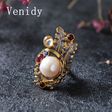 Venidy Female Baroque Pearl Ring Fashion White &Purple Crown Pearls Jewelry Vintage Wedding Rings For Women Birthday Stone Gifts