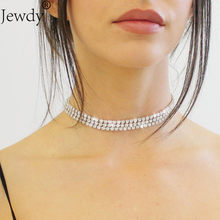 1 2 3 4 5 Rows Rhinestone Choker Necklace For Women female wedding jewelry bridesmaid chocker 2018 collier bijoux Jewellery(China)