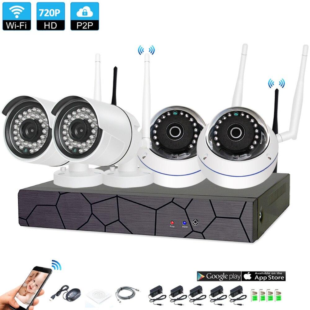 Wireless Surveillance System Network 4CH 1080P NVR Recorder Wifi Kit HD Video Inputs 4 PCS 1.0MP cctv Security Camera xinfi 4ch wifi cctv system 1080p wifi nvr network video recorder 720p wifi hd home security poe camera system wifi cctv nvr kit
