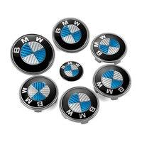 7ピース/ロットbmw青白フロントボンネットエンブレムバッジ車のステアリングホイールキャップホイールハブキャップヘッドフードロゴバッジトランクエンブレムカバーステッカ