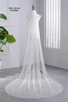 New Arrival BlingBling Bridal Veil 2015 Rhinestones Edge 3 Meter Length Soft Tulle Wedding Veils
