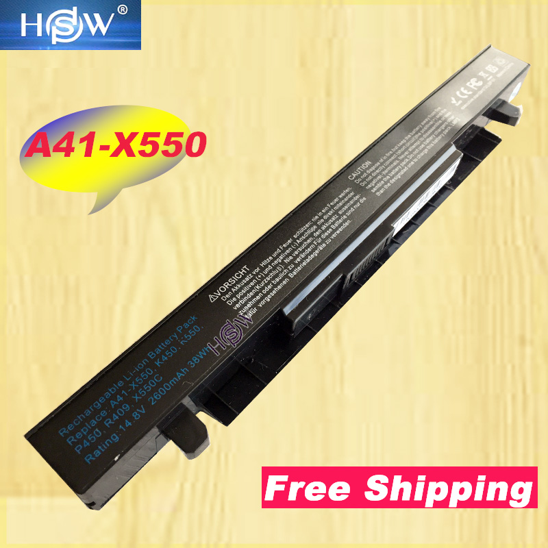 HSW 4Cell laptop Battery For Asus R510C R510D R510E R510L R510V x550 X550A X550C X550EA for A41 X550 A41 X550A-in Laptop Batteries from Computer & Office