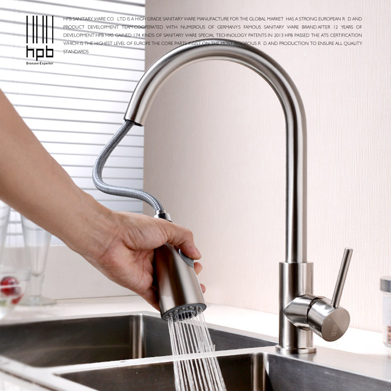 HPB Kitchen Faucet Pull-out Kitchen Faucets Brushed Mixer Tap for Sink Single Handle Deck Mounted Hot And Cold Water HP4104 black chrome kitchen faucet pull out sink faucets mixer cold and hot kitchen tap single hole water tap torneira