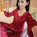 Весной и Осенью сексуальная длинными рукавами шелковой пижамы женские костюмы тонкий пункт кружева большой размер осень дом