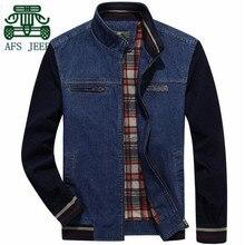 AFS JEEP 3XL 4XL Plus Größe Jüngere Patchwork Casual Drehen Kragen Jeansjacke, Herbst Frühling 2017 Blue Denim Neue freizeit Outwear