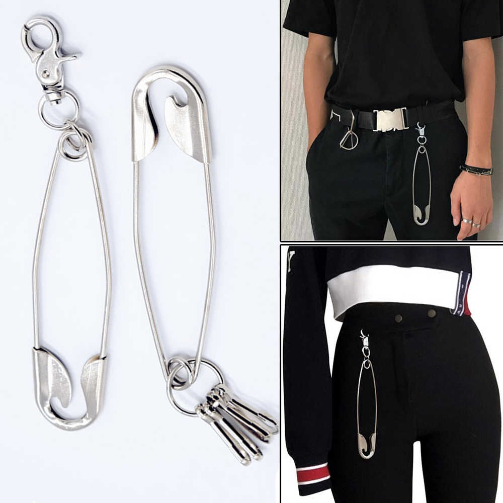 Unisex Punk Metal Wallet Belt Chain Rock Trousers Hipster Pant Jean Keychain silver pin Ring Clip Keyring Men's Hip Hop Jewelry