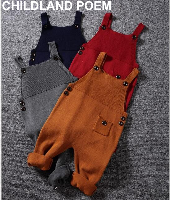 1-5Y Autumn baby boys clothes Pocket Knitted baby Rompers Dress Jumpsuits Boys Girls Candy Color Bib Harem Pants Kids Clothing