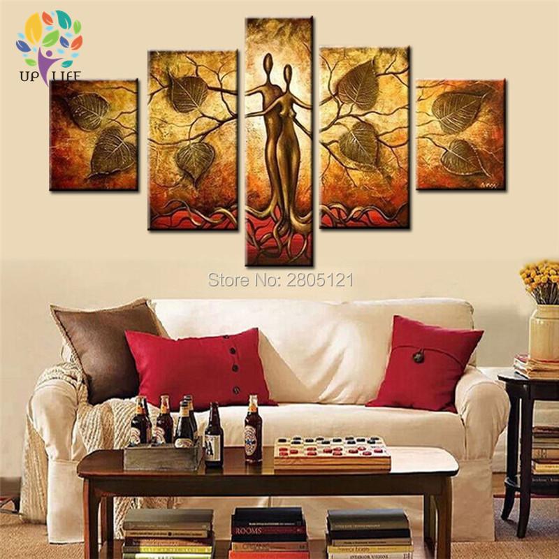 unidades de la lona pintura al leo del arte abstracto pintado a mano cuadro de la pared para el dormitorio sala de estar deco