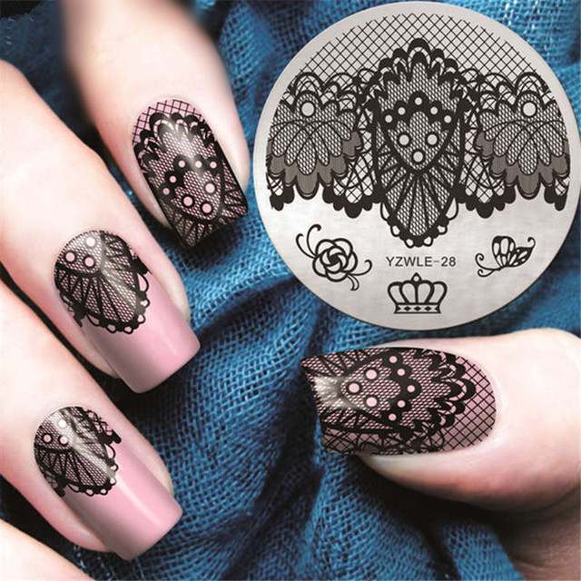 Butterfly Lace Spring Nail Stamping Plates Queen Rose Nail Art Stamp ...