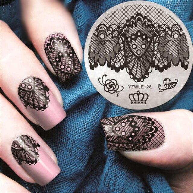 Vlinder Kant Lente Nail Stempelen Platen Queen Rose Nail Art Stempel