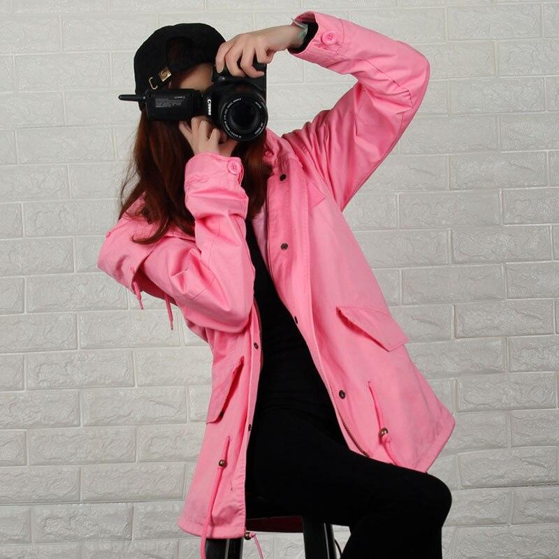 OFTBUY 2017 nueva Primavera chaqueta de la capa Ocasional de las mujeres rosa Ca