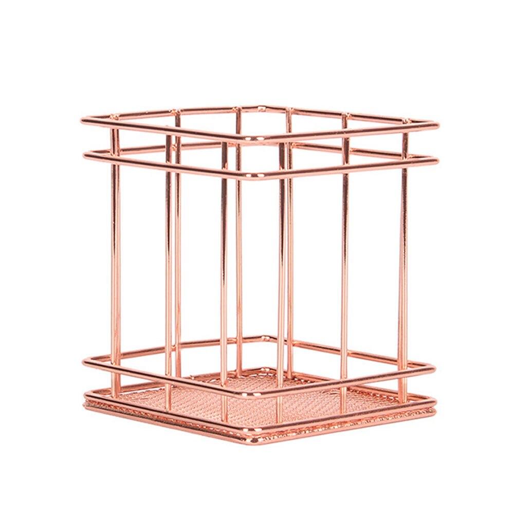 Нордическая корзина для хранения из розового золота сетчатая корзина винтажный офисный органайзер для фруктового стола Boite De Rangement Органайзер держатель Прямая - Цвет: 4