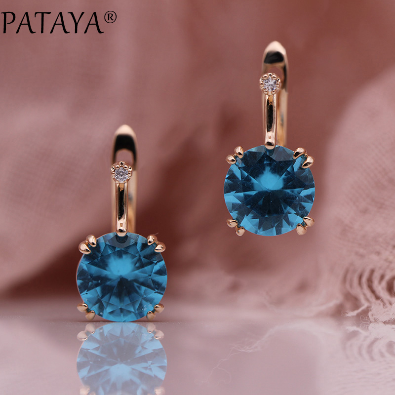 PATAYA 828 Promotion New Round Blue Earrings Women Fashion Noble Wedding Jewelry 585 Rose Gold Natural Zircon Dangle EarringsPATAYA 828 Promotion New Round Blue Earrings Women Fashion Noble Wedding Jewelry 585 Rose Gold Natural Zircon Dangle Earrings