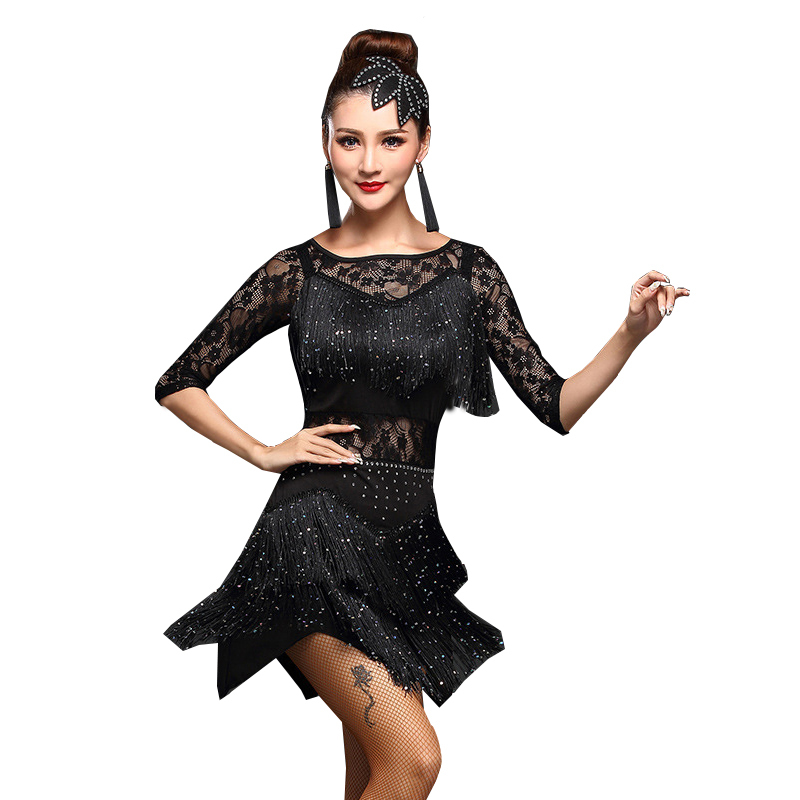 2017 Women Competition Dance Clothes Sequins Costume Set With Sleeves Fringe Salsa Dresses Ballroom Dance Ladies Latin Dress