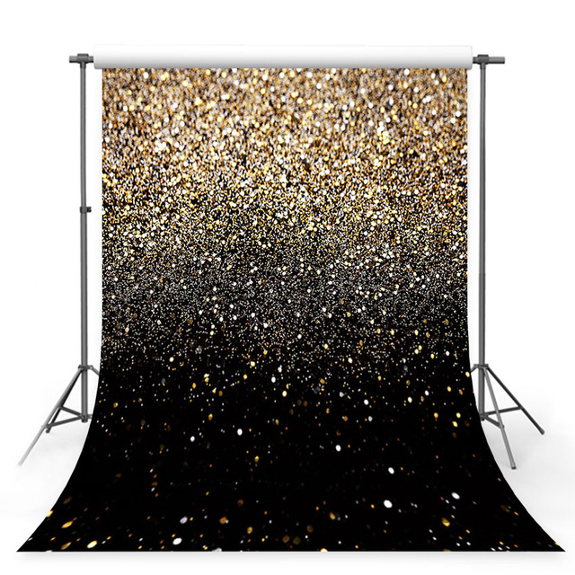 MEHOFOTO Glitter Black Gold Dots Bokeh Photography Backdrop Photo Studio Background Props Party Events Decorations Supplies